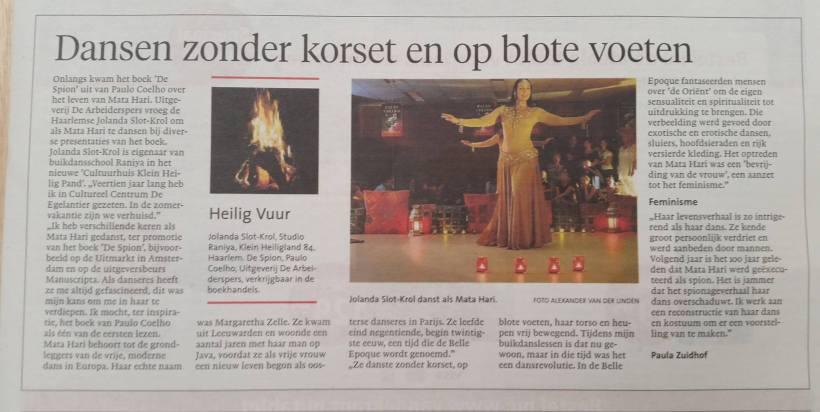 Haarlems Dagblad 19 oktober 2016 Buikdansers Raniya danst Mata-Hari
