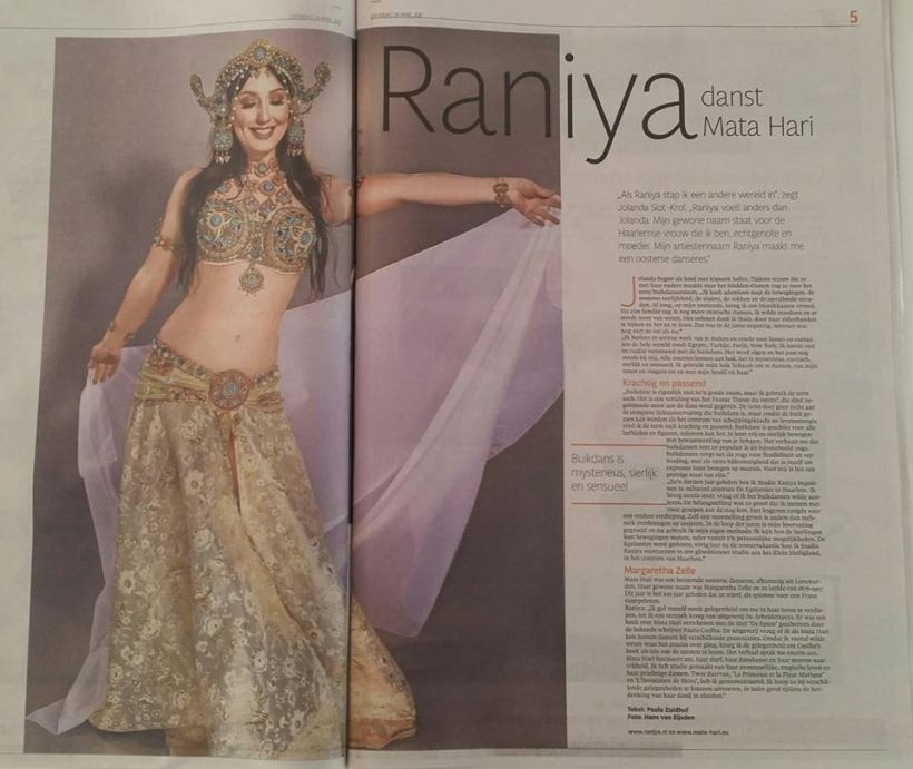 Haarlems Dagblad april 2017 Buikdanseres Raniya